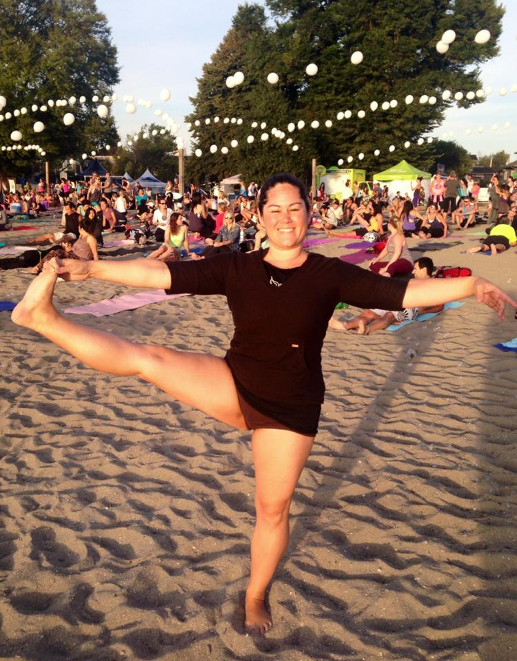Medical Qi Gong and Yoga Teacher, Caroline MacGillivray at Kits Beach