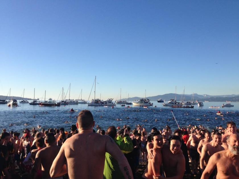 Vancouverites Run to Ocean for Polar Bear Swim 2016 English Bay, Vancouver, BC Photo By Catherine
